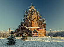 A winter view of the of Pokrovskaya church in the Christmas time. Royalty Free Stock Photo