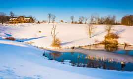 Winter view of a pond in rural York County, Pennsylvania. Stock Photos