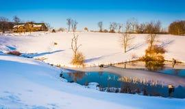 Winter view of a pond in rural York County, Pennsylvania. Stock Photos