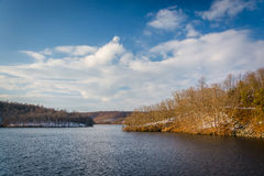 Winter view of Prettyboy Reservoir, in Baltimore County, Marylan. D Stock Photography