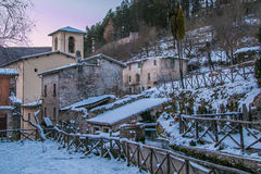 Winter view of Rasiglia in Umbria royalty free stock photo