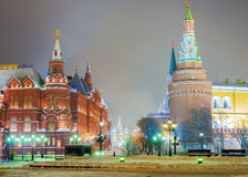 Winter view of the Red Square with Manege Square in Moscow Royalty Free Stock Photo