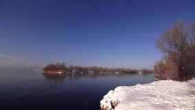 Winter view of the river. View of the River winter frosty morning stock footage