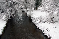 Winter view of river, snow and forest Stock Image