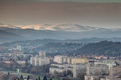 Winter view of rows of socialist tower blocks Miskolc Hungary Stock Photography