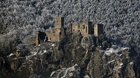 Ruins of Strecno castle in winter time, Slovakia Stock Photography