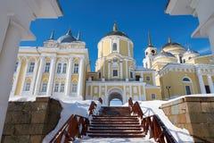 Monastery of the Nilo-Stolobenskaya Pustyn. Winter view of russian orthodox monastery of the Nilo-Stolobenskaya Pustyn, Ostashkov district, Tver oblast, Russia Stock Image