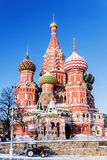 Winter view of Saint Basil's Cathedral in Moscow Stock Image