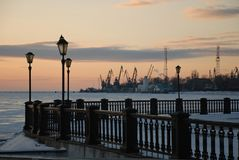 Winter view on seaport from quay in Taganrog. Royalty Free Stock Photos