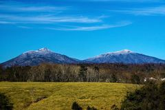 Peaks of Otter in Bedford County, Virginia, USA. A winter view of Sharp Top Mountain, Flat Top Mountain located in Bedford County, Virginia, USA stock images