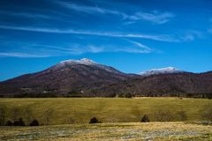 Winter View of Sharp Top Mountain and Flat Top Mountain. A winter view of Sharp Top Mountain and Flat Top Mountain located in the Blue Ridge Mountains in Bedford stock images