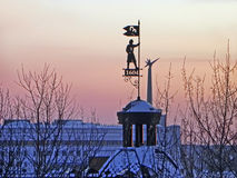 Winter view of the Siberian city Tomsk at sunset Royalty Free Stock Images
