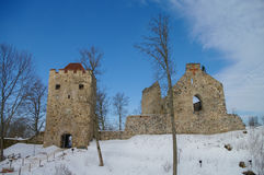 Winter view of Sigulda Medieval Castle ruins in the Gauja valley Royalty Free Stock Photos