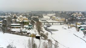 A winter view of the small old town in Russia with medieval churches, monastery, old-fashione houses stock images