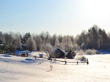 Winter view of small russian village Royalty Free Stock Photo