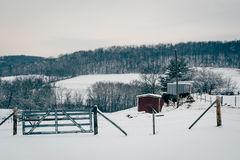 Winter view of snow covered farm fields in rural Carroll County, Stock Photo