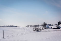Winter view of snow covered farm fields in rural Carroll County, Royalty Free Stock Image