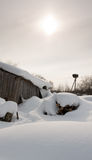 Winter view with snowbank Royalty Free Stock Photography