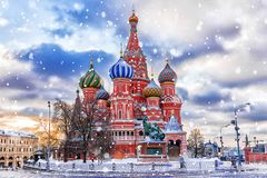 Winter view of the St. Basil`s Cathedral in Moscow stock images