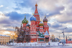 Winter view of the St. Basil`s Cathedral in Moscow.  Royalty Free Stock Images