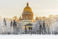 Winter view of St. Isaac`s Cathedral in St. Petersburg Royalty Free Stock Photography