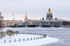 Winter view of St. Isaac`s Cathedral to St. Petersburg. Royalty Free Stock Image
