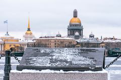 Winter view of St. Isaac`s Cathedral to St. Petersburg monument book. Royalty Free Stock Image