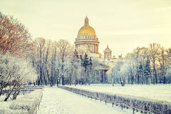 Winter view of St. Isaac's Cathedral to St. Petersburg Royalty Free Stock Photos
