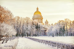 Winter view of St. Isaac's Cathedral to St. Petersburg Royalty Free Stock Images