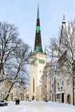 Winter view on the St. Olaf's Church in Tallinn, Estonia Stock Photography