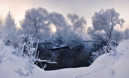 Winter view. Stitched Panorama sun sunlight winter river Minsk Belarus fog frost Stock Images