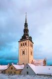 Winter view of the Tallinn. Church Niguliste Royalty Free Stock Image