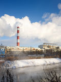 Winter view of the thermal power plant Royalty Free Stock Photography