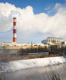 Winter view of the thermal power plant Stock Photography