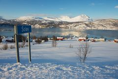 Winter view to Lavangen fjord and Soloy village, Troms county, Norway. royalty free stock image