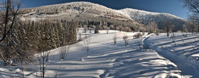 Winter view to Lysa hora and Luksinec hill from Butoranka Stock Photos