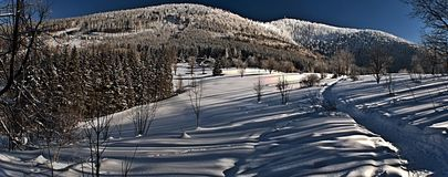 Winter view to Lysa hora and Luksinec hill from Butoranka Royalty Free Stock Photography