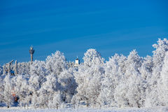 Winter view towards Puijo tower Royalty Free Stock Photography
