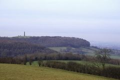 Scenic Cotswolds - Rural countryside. Winter view towards the Tynedale Monument on the edge of the Cotswold Hills escarpment near Wotton Under Edge Stock Photo