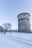 Winter view of tower Tallinn, Estonia Royalty Free Stock Photography