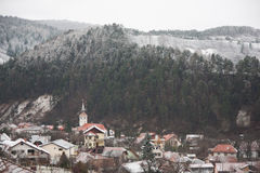 Winter View of a town Stock Image