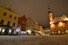 Winter view of Town Hall square. Tallinn. Estonia. Tallinn is the capital and largest city of Estonia; the Old Town is one of the best preserved medieval cities stock images