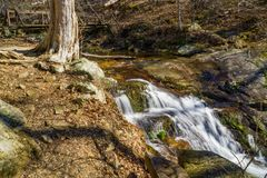 Falling Water Cascades – Upper Falls. Winter view of the upper falls of Falling Water Cascades located off the Blue Ridge Parkway at mile post 83.1 in Virginia Royalty Free Stock Photography