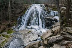 Winter View of the upper Roaring Run Falls - 4. Winter view of the upper frozen Roaring Run Falls located Eagle Rock in Botetourt County, Virginia royalty free stock images