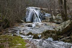Winter View of the upper Roaring Run Falls - 5. Winter view of the upper frozen Roaring Run Falls located Eagle Rock in Botetourt County, Virginia royalty free stock photography