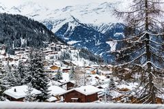 Winter view on the valley in Swiss Alps, Verbier, Switzerland. Beautiful view on the valley in Swiss Alps, Verbier, Switzerland Royalty Free Stock Image