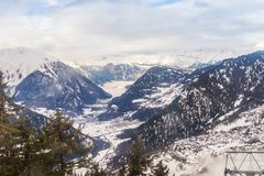 Winter view on the valley in Swiss Alps, Verbier, Switzerland. Beautiful view on the valley in Swiss Alps, Verbier, Switzerland Royalty Free Stock Photography