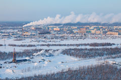 Winter view in vicinity of Megion town, Siberia, Russia Stock Images