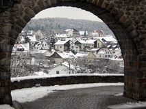 Winter view of a village Stock Photography