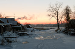 Winter view on the  Volkhov river after sunset Royalty Free Stock Image